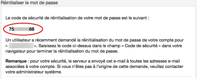 cPanel : code de sécurité