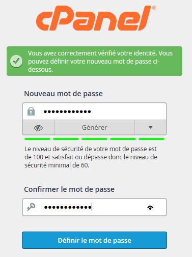 cPanel : réinitialisation du mot de passe