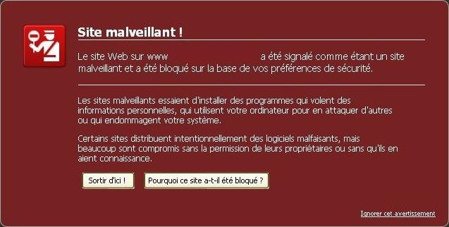 Page rouge Site Malveillant