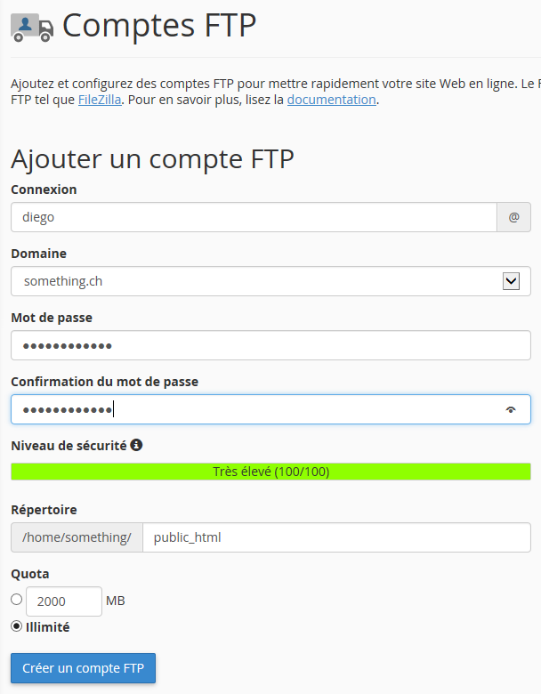 Création d'un nouveau compte FTP