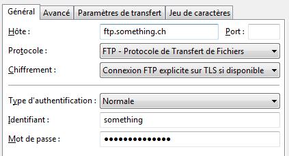FileZilla : Paramètres de connexion