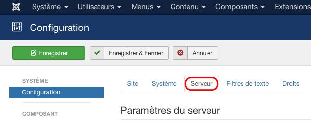 Joomla : paramètres serveur