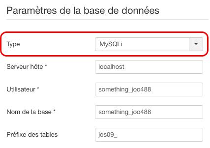 Joomla : paramètres base de données