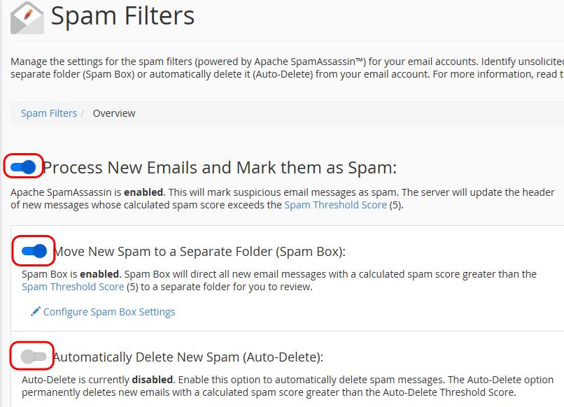 SpamAssassin - Activation de la SpamBox
