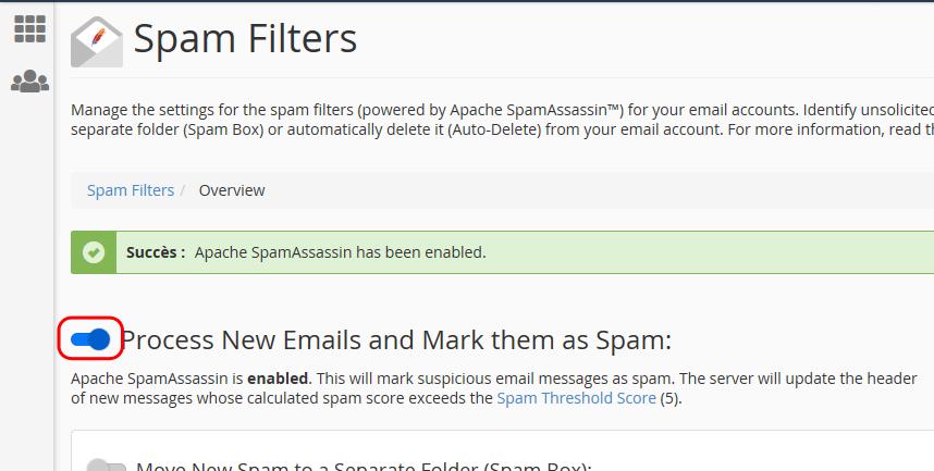 Activation de SpamAssassin