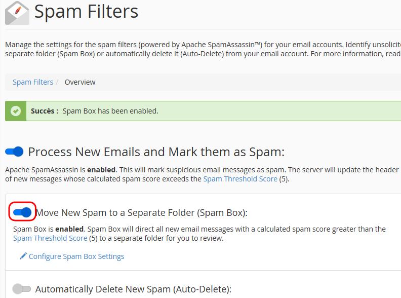Activation de classement automatique des spams