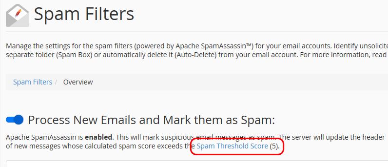Niveau d'acceptation pour SpamAssassin