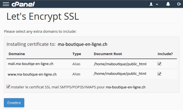 Génération d'un certificat SSL valide