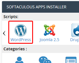 Installation WordPress : Softaculous