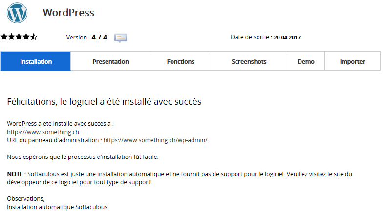 Installation WordPress : Paramètres d'installation