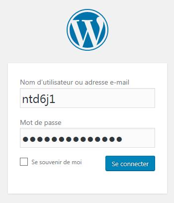 Installation WordPress : Connexion au compte d'administration