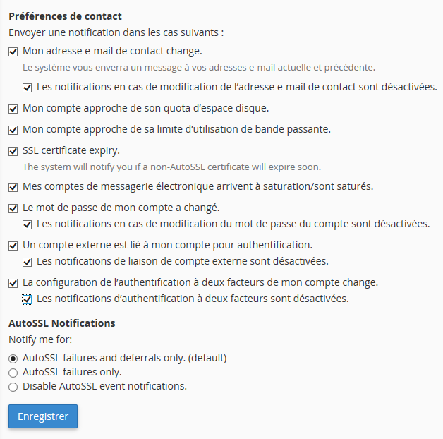 cPanel : changement de l'e-mail de contact